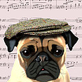 Pug In A Flat Cap by Kelly McLaughlan