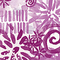 Purple Garden - Contemporary Abstract Watercolor Painting by Linda Woods