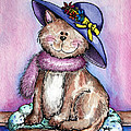 Purple Hat Cat Print by Danise Abbott