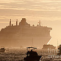 Queen Mary 2 Leaving Port 02 Print by Rick Piper Photography