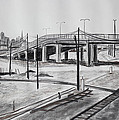 Quiet West Oakland Train Tracks With Overpass And San Francisco  by Asha Carolyn Young