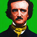 Quoth The Raven Nevermore - Edgar Allan Poe - Painterly - Green - With Text by Wingsdomain Art and Photography
