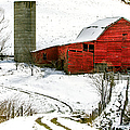 Red Barn In Snow by John Haldane
