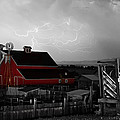 Red Barn On The Farm And Lightning Thunderstorm Bwsc by James BO  Insogna