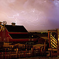 Red Barn On The Farm And Lightning Thunderstorm by James BO  Insogna