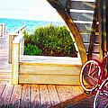 Red Bike On Beach Boardwalk by Jane Schnetlage