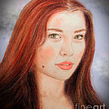 Red Hair And Blue Eyed Beauty With A Beauty Mark II by Jim Fitzpatrick