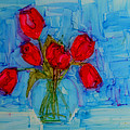 Red Tulips With Blue Background by Patricia Awapara