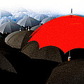 Red Umbrella In The City Print by Bob Orsillo