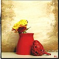 Red Vase Red Bird And Red Yellow Rose by Marsha Heiken