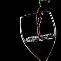 Red Wine Pouring Into Wineglass Splash Silhouette by Alex Sukonkin