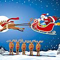Reindeer Santa Sleigh Christmas Stunt Show Print by Frank Ramspott