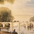 River Scene With Bridge Of Six Arches by Robert Hindmarsh Grundy