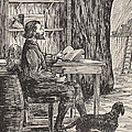 Robinson Crusoe In His Cave by English School