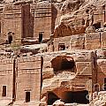 Rock Cut Tombs On The Street Of Facades Petra Jordan by Robert Preston