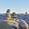 Rock Piles Zen Stones Little Hunters Beach Maine by Terry DeLuco
