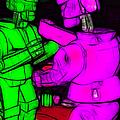 Rockem Sockem Robots - Color Sketch Style - Version 2 by Wingsdomain Art and Photography