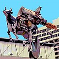 Rocket Cow Sculpture By Michael Bingham by Steve Ohlsen