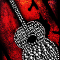 Rockin Guitar In Red Typography by Andee Design
