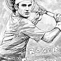 Roger Federer Art Drawing Sketch Portrait by Kim Wang