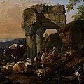 Roman Landscape With Cattle And Shepherds by Johann Heinrich Roos