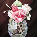 Roses In The Glass Vase by Irina Sztukowski