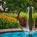 Round Water Sculpture Prescott Park Garden  by Jeff Sinon