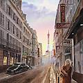 Rue Saint Dominique Sunset Through Eiffel Tower   by Irina Sztukowski