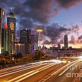 Rush Hour During Sunset In Hong Kong by Lars Ruecker