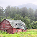 Rustic Landscape - Red Barn - Old Barn And Mountains by Gary Heller