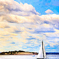 Sailing On A Beautiful Day In Boston Harbor by Mark E Tisdale
