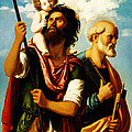 Saint Christopher With Saint Peter by Digital Reproductions