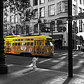 San Francisco Vintage Streetcar On Market Street - 5d19798 - Black And White And Yellow by Wingsdomain Art and Photography