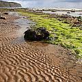 Sand patterns on Robin Hoods Bay beach Print by Deborah Benbrook