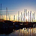 Santa Barbara Harbor With Yachts Boats At Sunrise In Silhouette by ELITE IMAGE photography By Chad McDermott