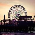 Santa Monica Pier Ferris Wheel Retro Photo by Paul Velgos