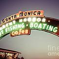 Santa Monica Pier Sign Retro Photo Print by Paul Velgos