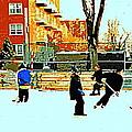 Saturday Afternoon Hockey Practice At The Neighborhood Rink Montreal Winter City Scene by Carole Spandau