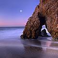 Sea Arch And Full Moon Over El Matador by Tim Fitzharris