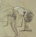 Seated Dancer Adjusting her Shoes Print by Edgar Degas
