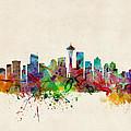Seattle Washington Skyline Print by Michael Tompsett