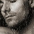 Sensual Portrait Of Man Face Under Pouring Water Black And White by Oleksiy Maksymenko