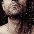 Sensual Portrait Of Man Face Under Shower by Oleksiy Maksymenko