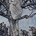 She Looked With Angry Woe At The Straining And Snarling Horde Below Illustration From Irish Fairy  by Arthur Rackham