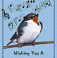 Singing Bird Birthday Card by Joyce Geleynse