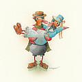 Skating Ducks 13 Print by Kestutis Kasparavicius