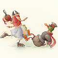 Skating Ducks 8 Print by Kestutis Kasparavicius