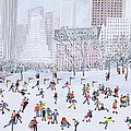 Skating Rink Central Park New York Print by Judy Joel