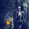 Skeleton With Jack O Lantern Print by Amanda And Christopher Elwell