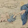 Sketch Of Christ Walking On Water Print by Richard Dadd